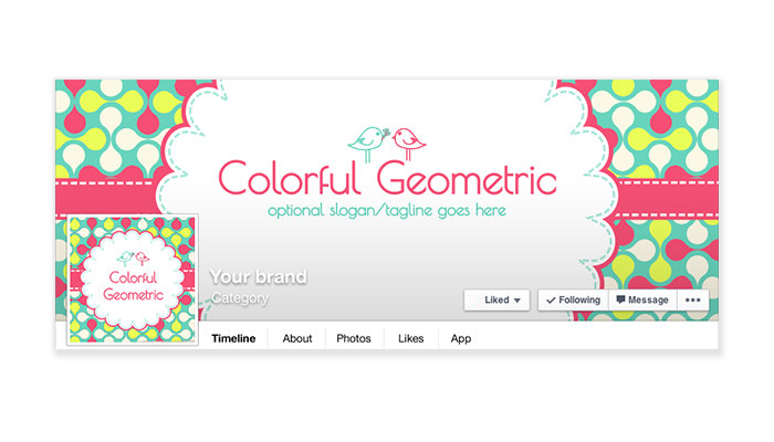 Colorful Geometric -  Facebook Timeline Cover with Profile Picture