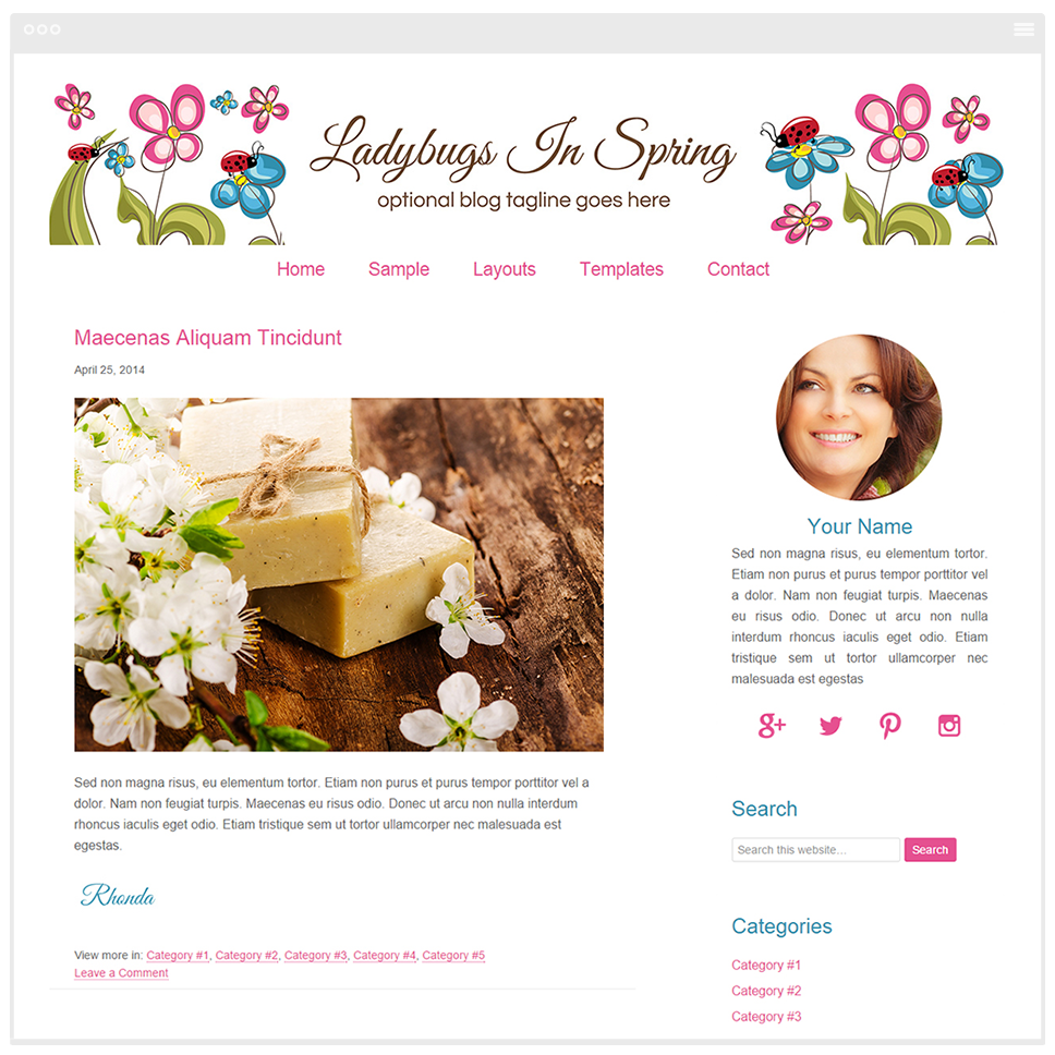 Ladybugs In Spring - Mobile Responsive WordPress Theme - Genesis Child Theme and Framework