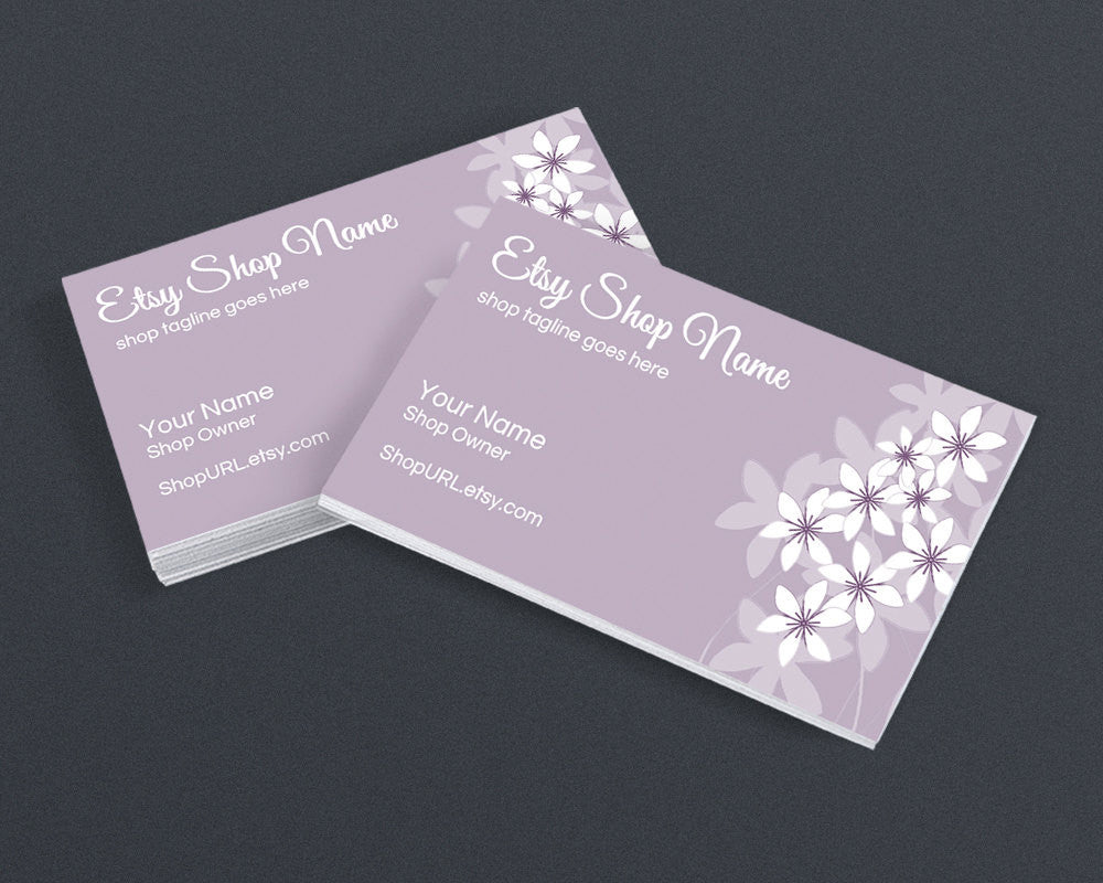 Business Card Design - Floral 16 Purple - Printable Business Card