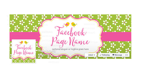 Facebook Banner - Facebook Timeline Cover with Profile Picture - Birdie & Blossoms