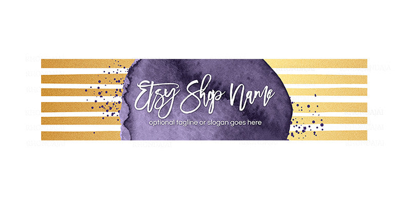 Gold and Purple Etsy Cover Photo - Etsy Cover Photo - Geometric 6-16