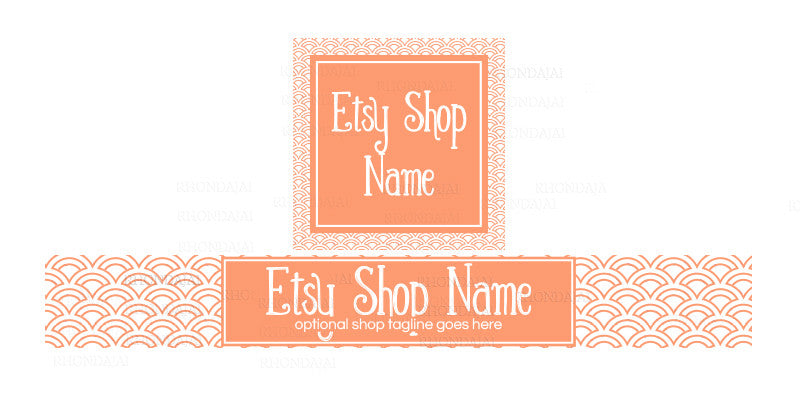 Peach Geometric Etsy Banner and Shop Icon Set - Geometric 5-16