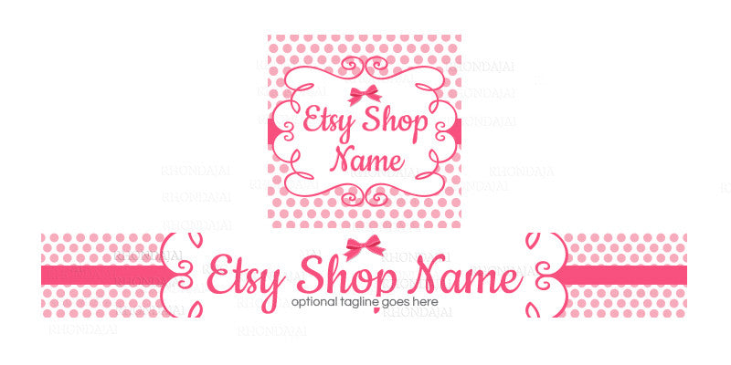 Pink Boutique Etsy Shop Banner - Polka Dot Etsy Shop Banner - Etsy Banner and Shop Icon Set - Judy