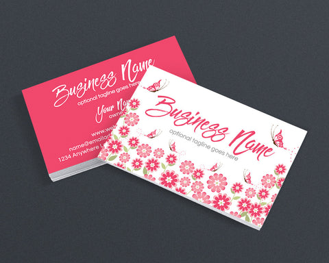Pink Floral Busiess Card Design - 2 Sided Business Card Design - Katrina