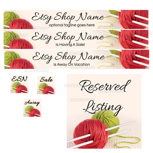 Knitting 1 - Large Etsy Banner Set