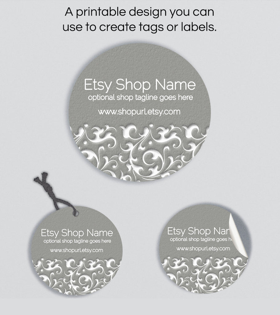 Round Product Labels or Hang Tags - Ornamental PS4