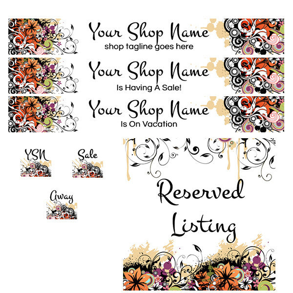 Flourishes 1 - PS Large Etsy Shop Banner Set