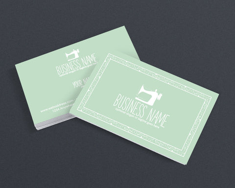 Sewing Business Card Design - Crafty Business Card Design - Sewing 101 Mint Green