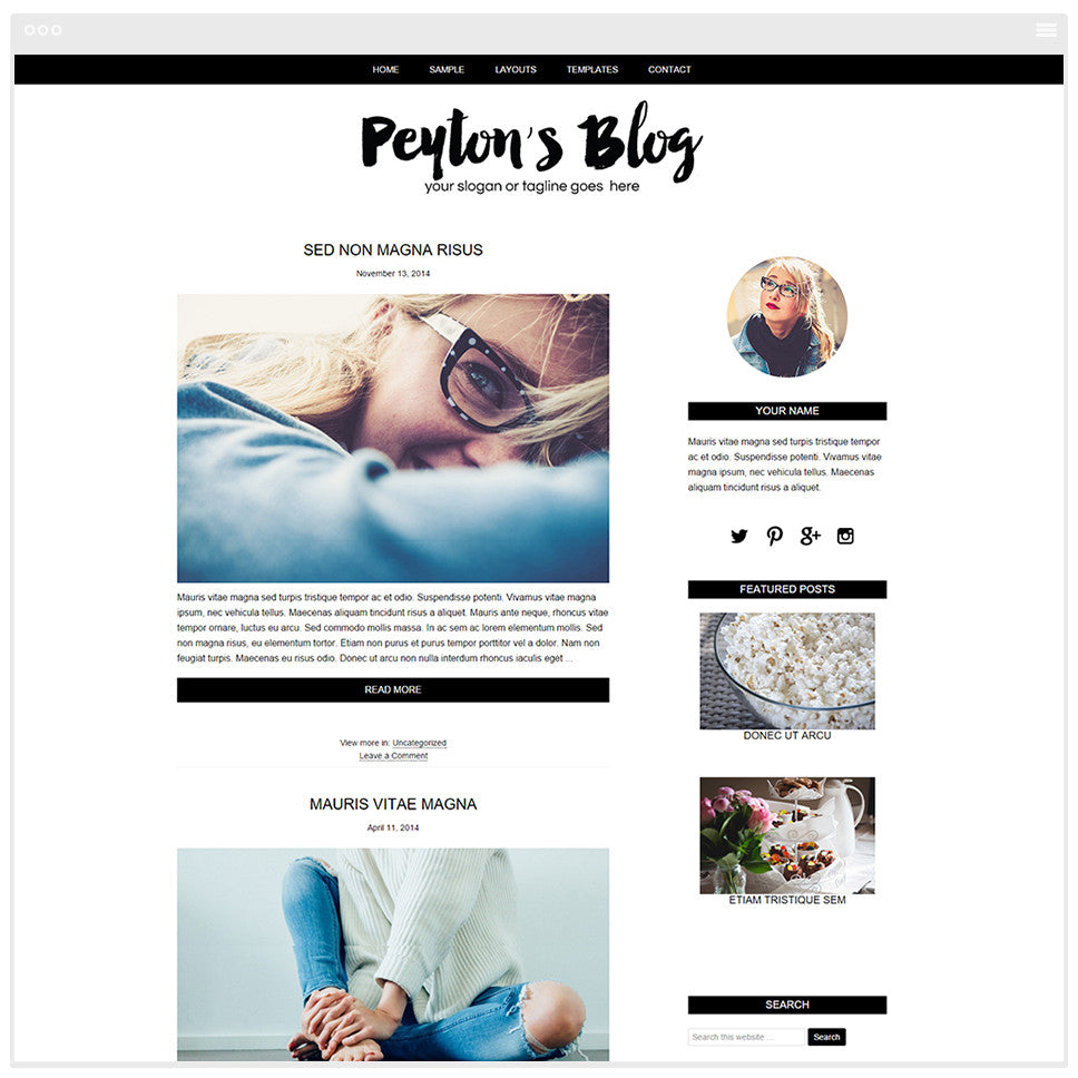 Blog  Design -  Mobile Responsive WordPress Theme - Genesis Child Theme and Framework - Peyton