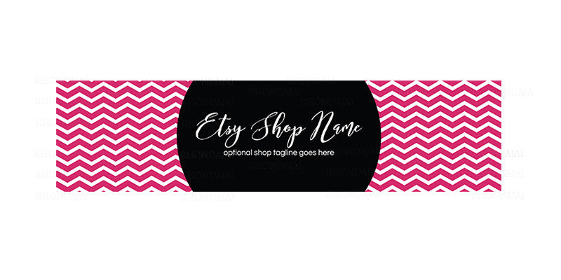 Chevron Pink and Black Etsy Shop Cover - Etsy Photo Covers - Molly
