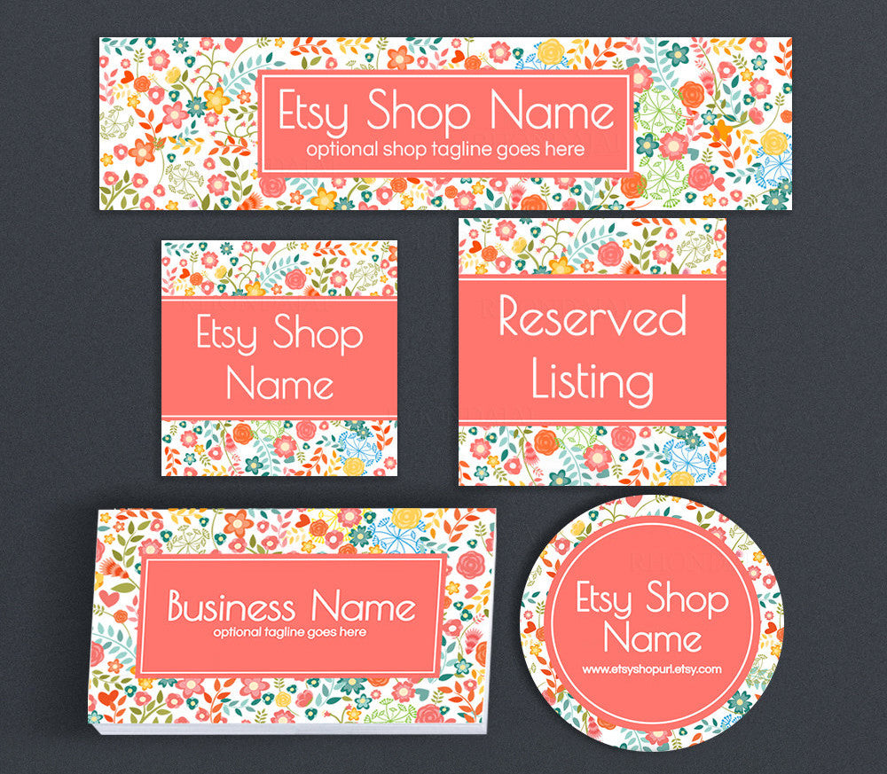 Peach Floral Etsy Shop Cover Branding Package  - Cathy
