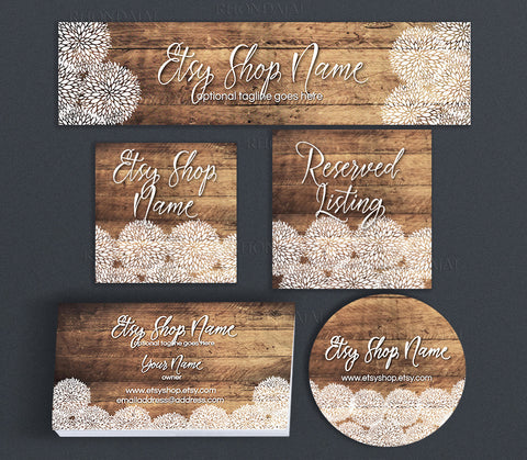 Rustic Etsy Shop Cover Branding Package  -  Allison