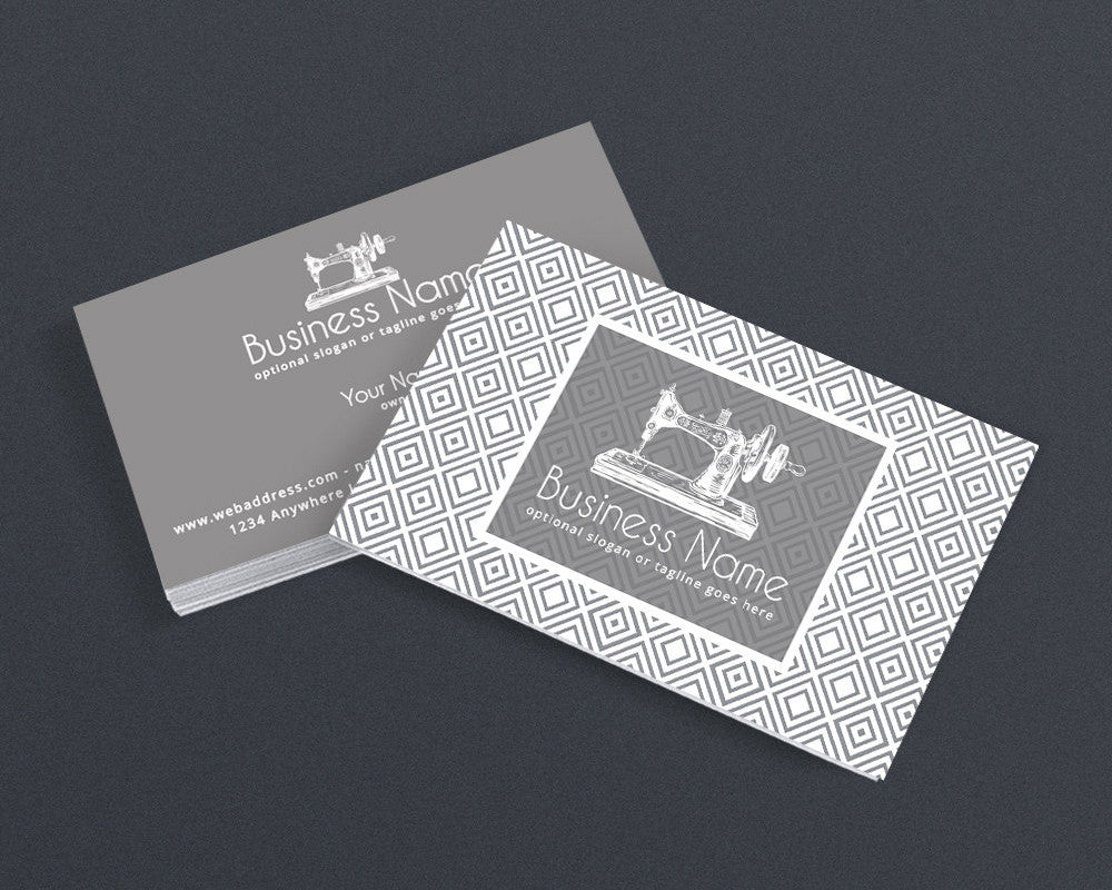 Sewing Business Card Design - Crafty Business Card Design - Grey Business Card Sewing 102