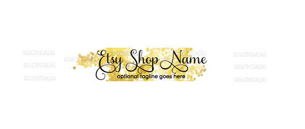 Simple Gold Text 2 -  Etsy Shop Banner