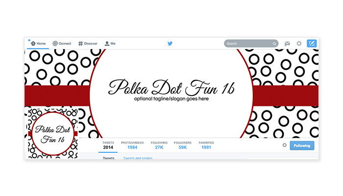 Twitter Cover with Profile Picture - Polka Dot Fun 1b