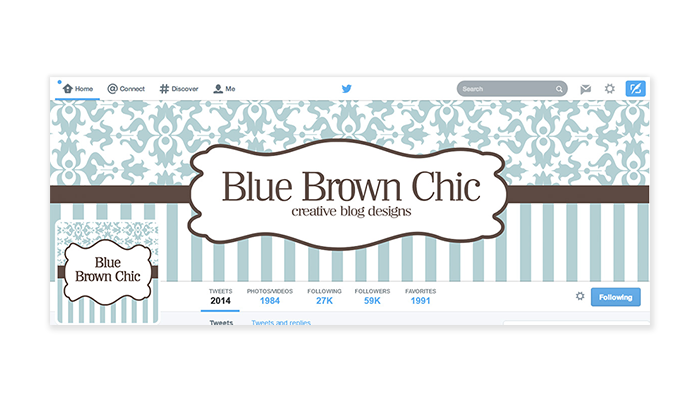 Twitter Cover with Profile Picture - Blue Brown Chic