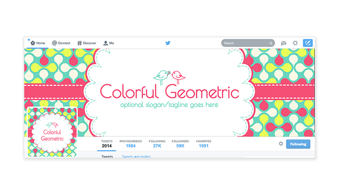 Twitter Cover with Profile Picture - Colorful Geometric