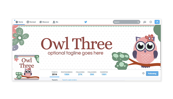 Twitter Cover with Profile Picture - Owl Three