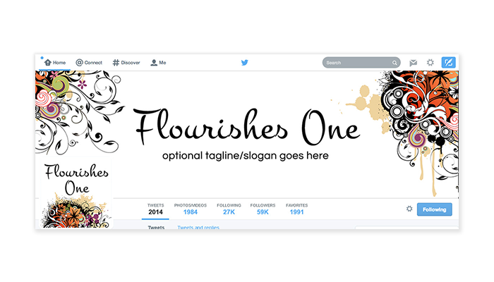 Twitter Cover with Profile Picture - Flourishes 1