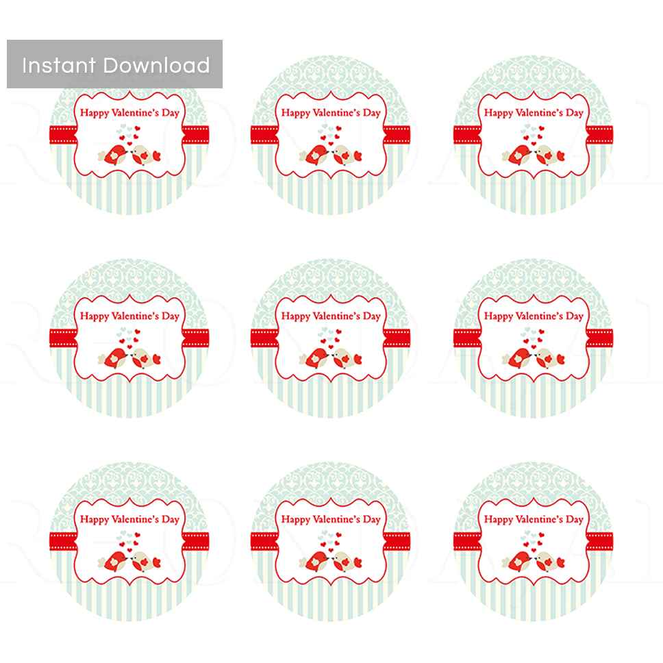 Valentine's Day Label or Hang Tag Design -  2 Inch Label Design Valentine - PS 1
