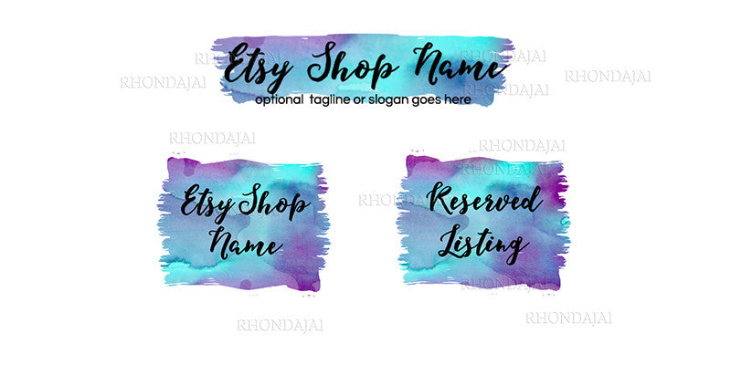Etsy Banner Set - 3 Piece Etsy Banner Set - Watercolor 4