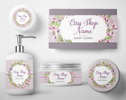 Cosmetic Labels - Soap Labels - Soap Wrappers - Purple Floral 100-16