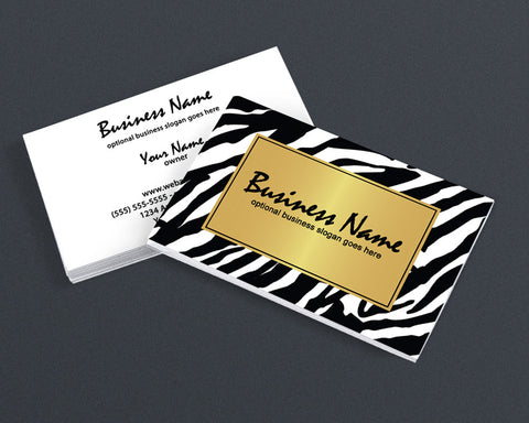 2 Sided Business Card Design - Golden Zebra