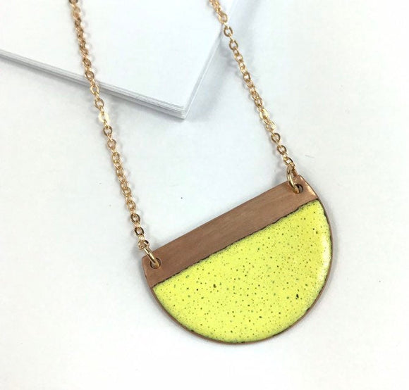 Yellow block contrast enamel half moon necklace