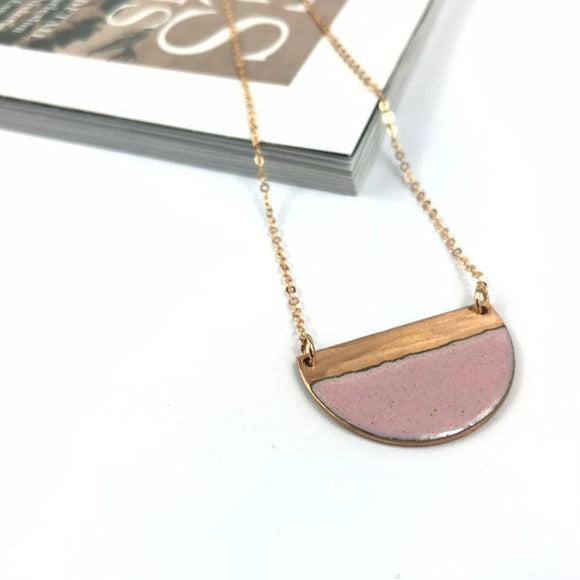 Pink block contast half moon necklace