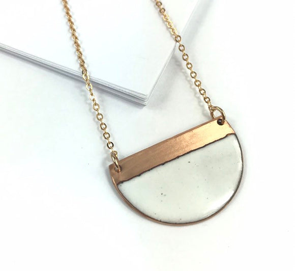 White block contrast enamel half moon necklace