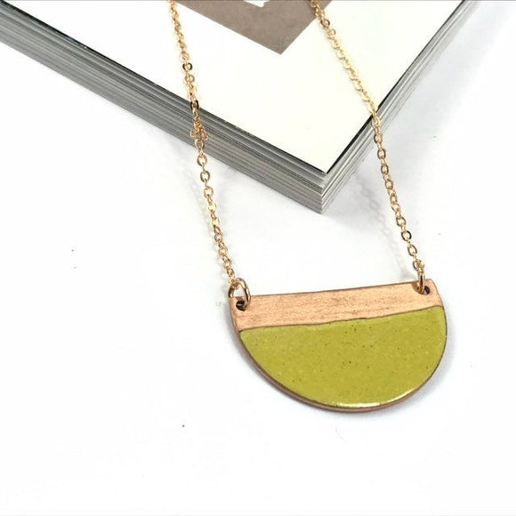 Mustard block colour half moon enamel necklace