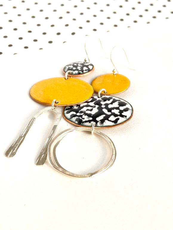 orange-mismatch-enamel-geometric-earrings-katie-johnston-jewellery