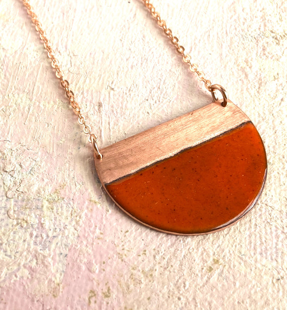 Tangerine orange block contrast half moon necklace