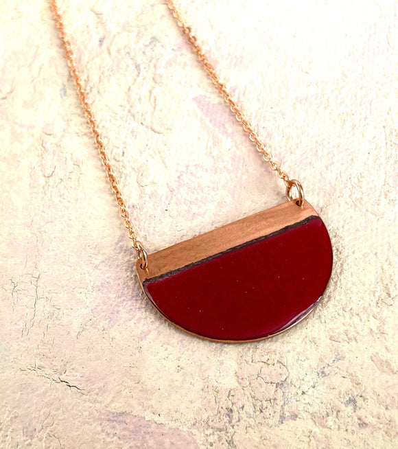 Red block contrast enamel half moon necklace