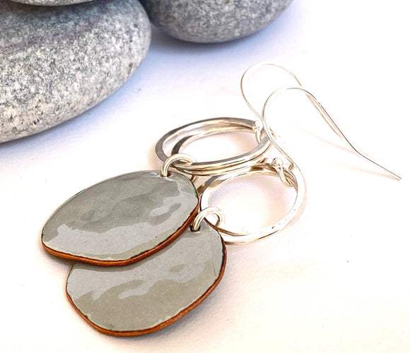 Grey pebble enamel earrings