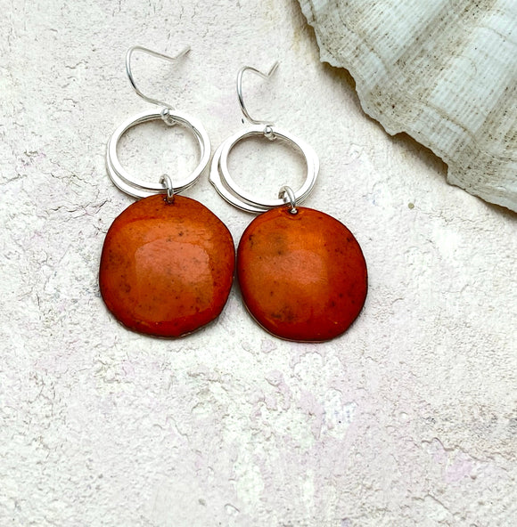 Tangerine Orange pebble enamel earrings