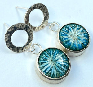 Sgraffito star enamel silver stud earrings - teal/green