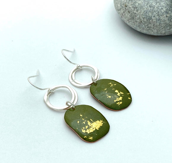 Olive green pebble enamel earrings