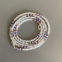 Load image into Gallery viewer, Gold, White, Pink and Blue Beaded Removable Mask Chain