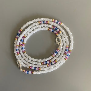 Gold, White, Pink and Blue Beaded Removable Mask Chain