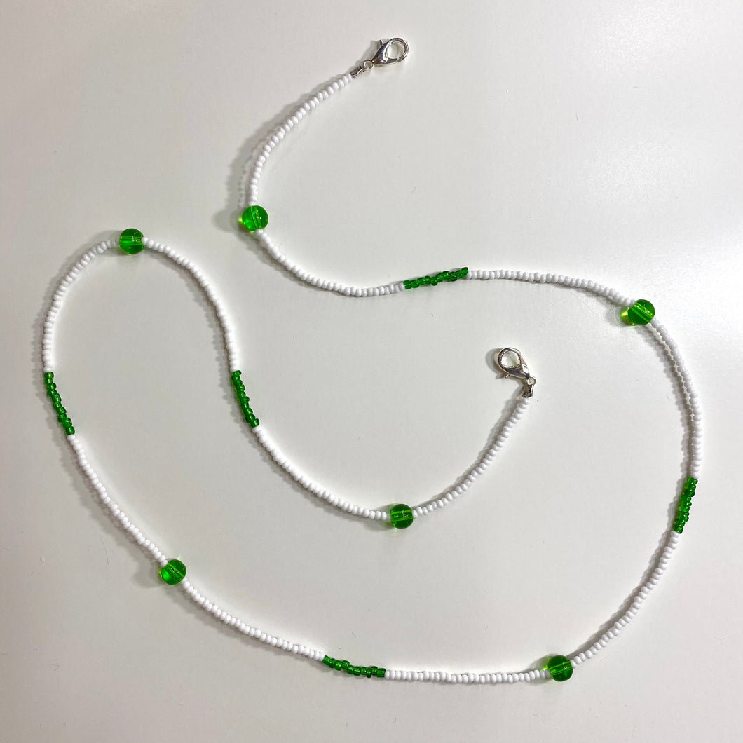 White & Green Beaded Removable Mask Chain