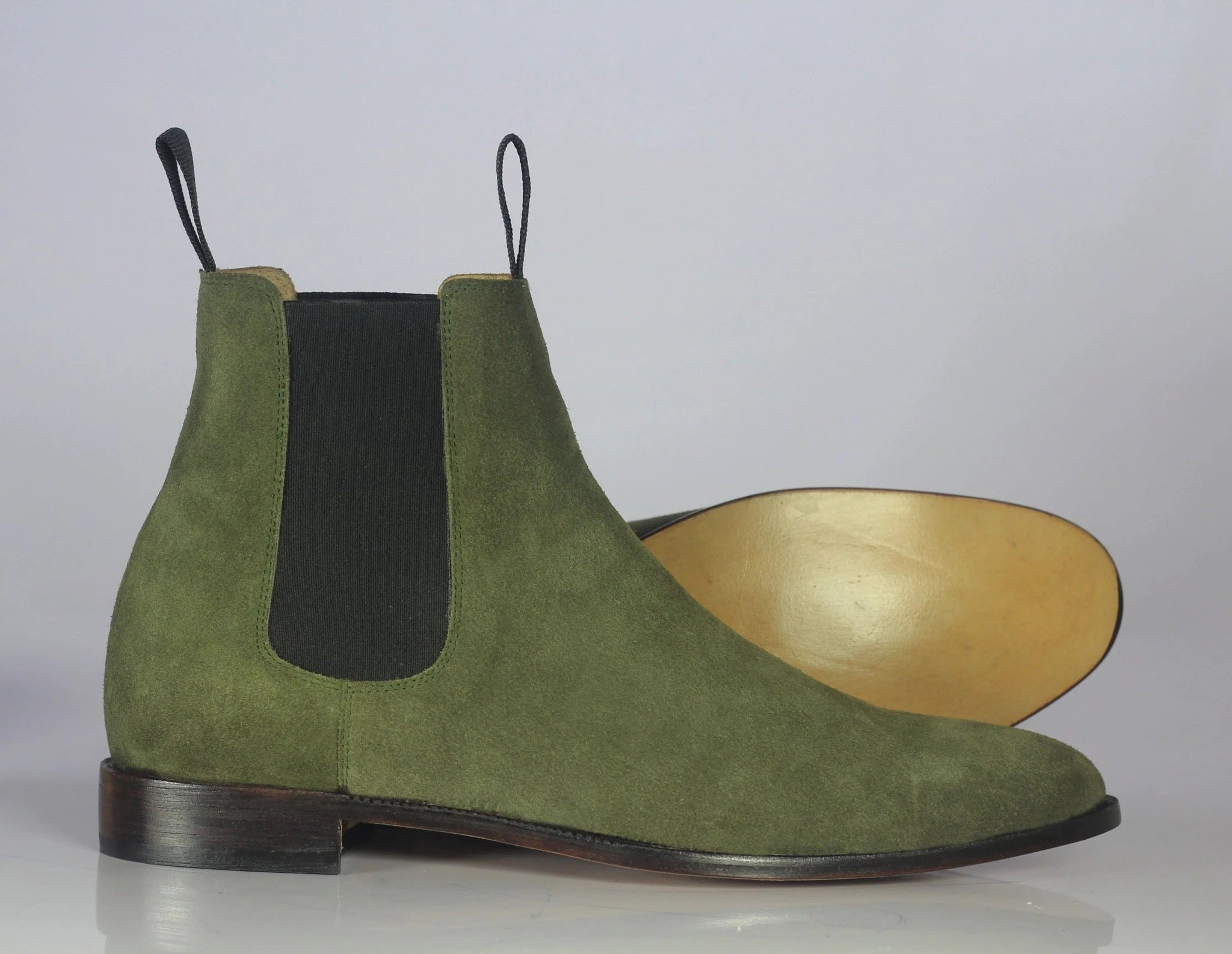 Olive Green Suede Chelsea Boots For Men