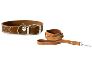 Euro Dog Collar and Leash Set New Elegant Style Affordable European Luxury Soft Leather Adjustable Buckle Dog Collar and Leash Made in USA