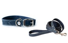 Load image into Gallery viewer, Euro Dog Collar and Leash Set New Elegant Style Affordable European Luxury Soft Leather Adjustable Buckle Dog Collar and Leash Made in USA