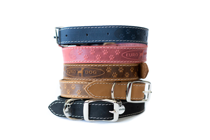 Euro Dog Soft Leather Dog Collar Elegant Style Adjustable Buckle Made in USA Affordable Luxury