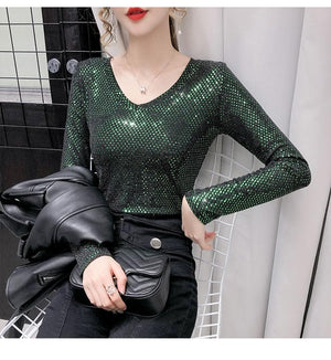 Sensationally Fabulous Bling V Neck Long Sleeve Blouse