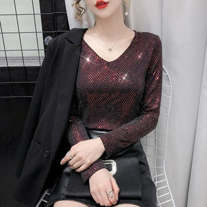 Sensationally Fabulous wine red / M Bling V Neck Long Sleeve Blouse