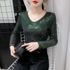 Sensationally Fabulous Green / XL Bling V Neck Long Sleeve Blouse