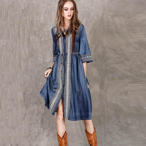 Ali Orders Casual Dresses Bohemian Embroidery Denim Dress