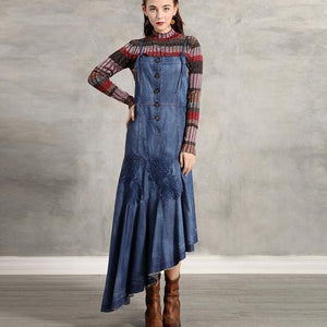 Embroidered Asymmetrical Denim Dress - Sensationally Fabulous